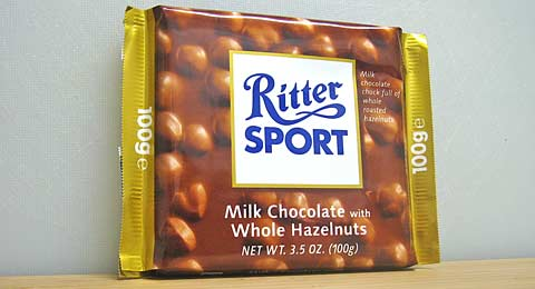 ritter sport whole hazelnut chocolate bar